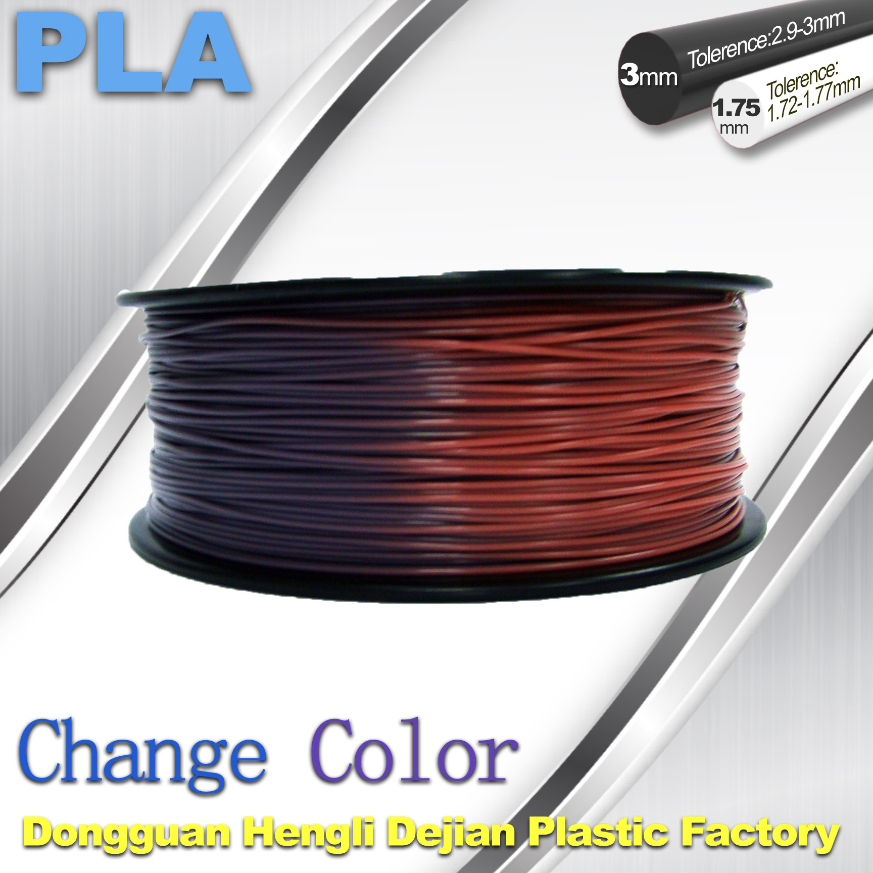 Variable Temperature 3D Printer PLA Color Changing Filament 1.75 / 3.0mm