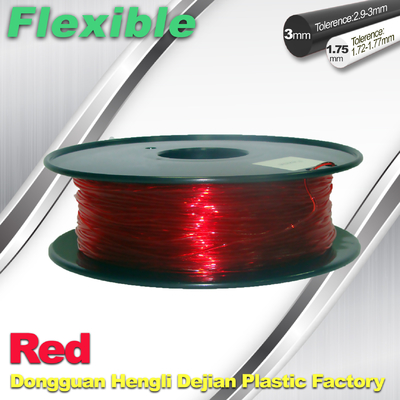 Filament flexible 1,75/3,0 millimètres de l'impression 3d de TPU rouge et transparent