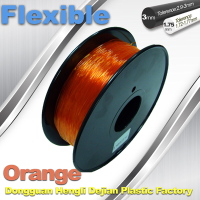 Orange 3.0mm/1.75mm filament flexible en caoutchouc d'imprimante de 1.0KG/Rolls 3D