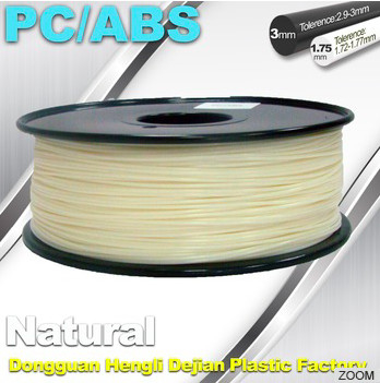 Filament de la couleur de 1.75mm imprimantes naturelle de PC/ABS 3D 1.3kg/bobine